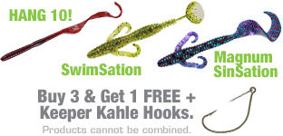 Mister Twister® Buy 3, Get 1 FREE plus Kahle Keeper Hooks Web Special